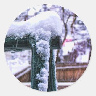 Falling Snow Round Sticker