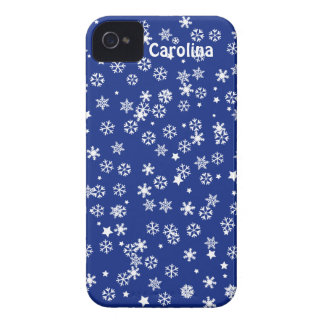 Falling Snowflakes Blue Christmas Winter Holiday Case-Mate iPhone 4 Cases