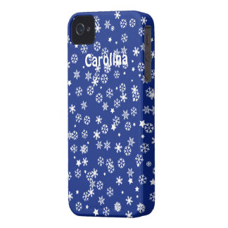 Falling Snowflakes Blue Christmas Winter Holiday iPhone 4 Case-Mate Case