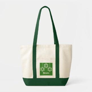 Falling Snowflakes Holiday Totebag, Bright Green Tote Bag