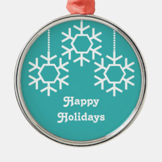 Falling Snowflakes Round Ornament Turquoise