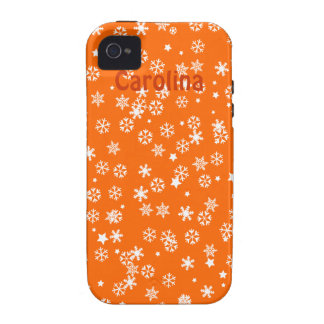 Falling Snowflakes Winter Custom Name Color Skin Case-Mate iPhone 4 Covers
