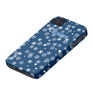 Falling Snowflakes Winter Custom Name Color Skin iPhone 4 Case