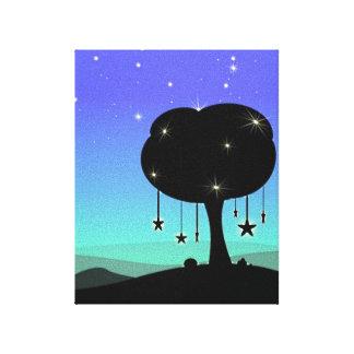 Falling Star Cartoon Night Sky Tree Dream Stretched Canvas Print