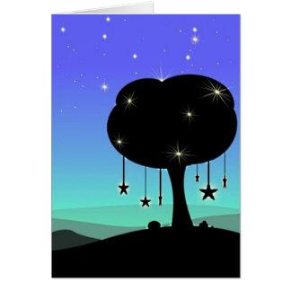 Falling Star Cartoon Night Sky Tree Dream Card
