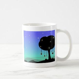 Falling Star Cartoon Night Sky Tree Dream Coffee Mugs