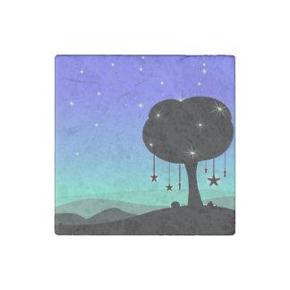 Falling Star Cartoon Night Sky Tree Dream Stone Magnet
