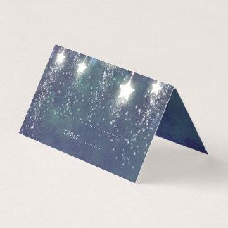 Falling Stars Blue Summer Night Wedding Place Card