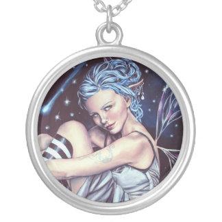 falling stars faery artwork necklace