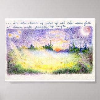 Falling stars fantasy landscape poster