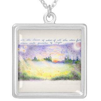 Falling stars fantasy landscape square pendant necklace