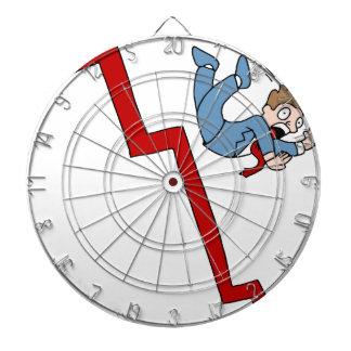 Falling Stock Market Businessman Cartoon Dartboard With Darts