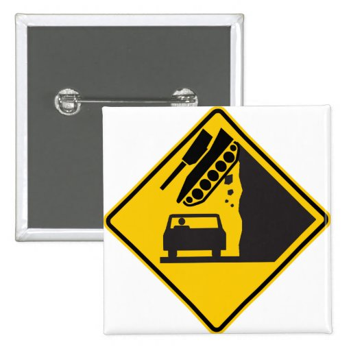 Falling Tank Zone Highway Sign Button