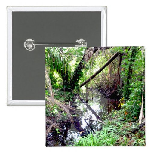Falling Trees Green River Banks Posterized 2 Inch Square Button