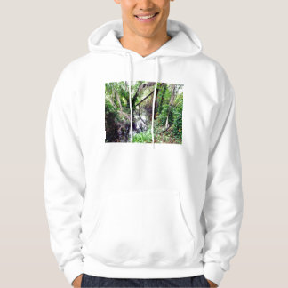 Falling Trees Green River Banks Posterized Hoodie