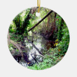 Falling Trees Green River Banks Posterized Christmas Tree Ornaments