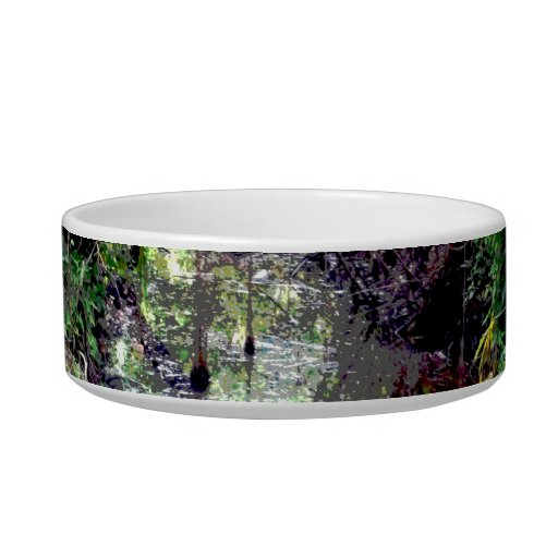 Falling Trees Green River Banks Posterized Cat Food Bowls