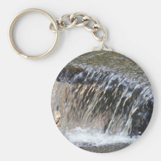 Falling Water, cool blue gray and white stream Basic Round Button Keychain