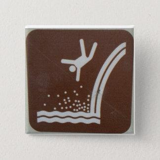 Falling waterfall hiker pin