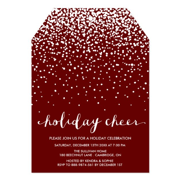 Falling White Snow | Red Holiday Party Invitation