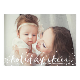 Falling White Snow | Red Holiday Photo Flat Card