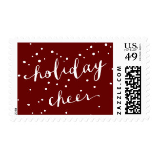 Falling White Snow | Red Holiday Stamp