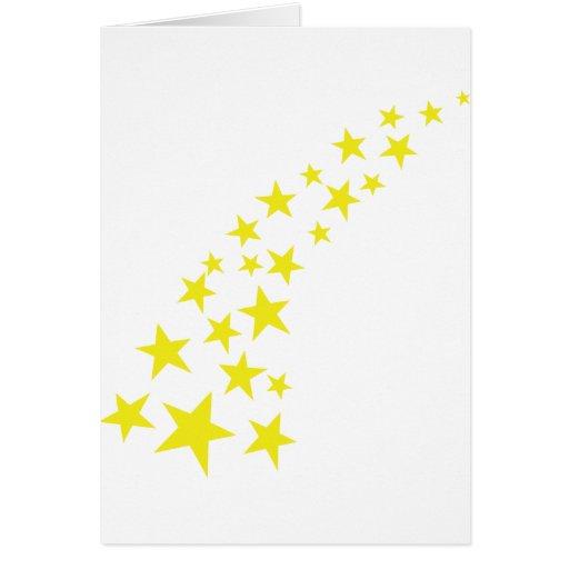 falling yellow stars greeting card