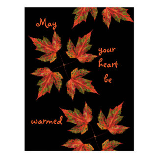 fallleaves, May, your heart be , warmed Postcard