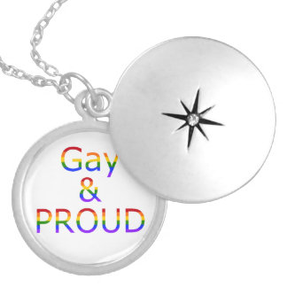 Fallln Gay and Proud Round Locket Necklace