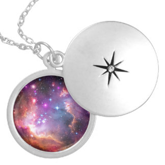 Falln Angelic Galaxy Silver Plated Necklace