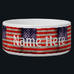 """Falln Antique American Flag Bowl<br><div class=""""desc"""">An antique American flag,  painted by me.  Click 'Customize' to add your own personalized text!</div>"""
