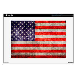 """Falln Antique American Flag Decal For 15"""" Laptop"""