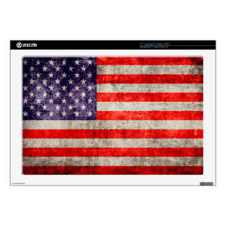 """Falln Antique American Flag Decal For 17"""" Laptop"""