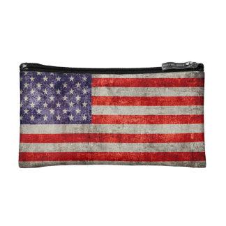 Falln Antique American Flag Makeup Bag