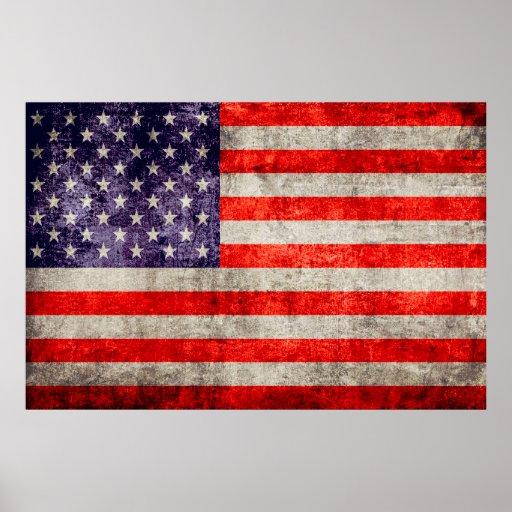 Falln Antique American Flag Poster