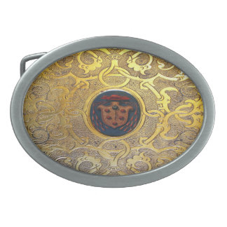 Falln Antique Golden Swirls Oval Belt Buckle