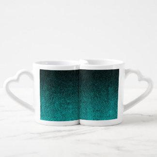 Falln Aqua & Black Glitter Gradient Coffee Mug Set
