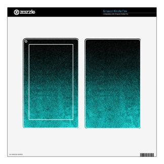Falln Aqua & Black Glitter Gradient Decal For Kindle Fire