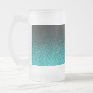 Falln Aqua & Black Glitter Gradient Frosted Glass Beer Mug