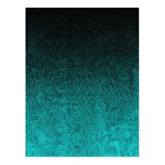 Falln Aqua & Black Glitter Gradient Postcard