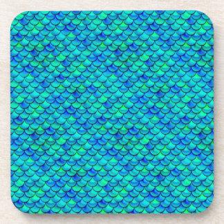 Falln Aqua Blue Scales Beverage Coaster