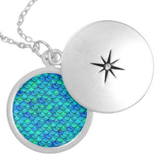 Falln Aqua Blue Scales Locket Necklace