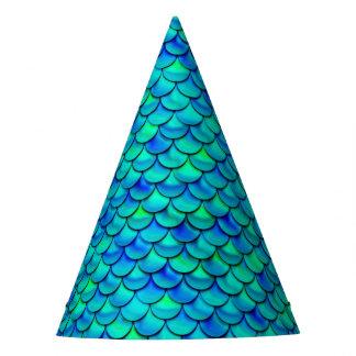 Falln Aqua Blue Scales Party Hat