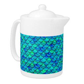 Falln Aqua Blue Scales Teapot