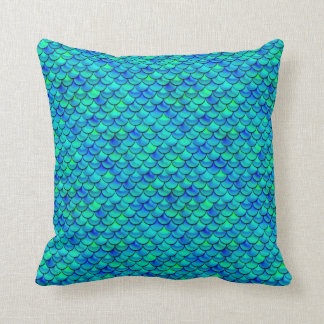 Falln Aqua Blue Scales Throw Pillow