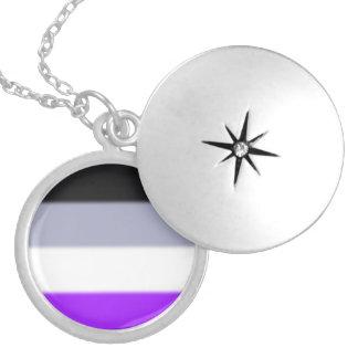 Falln Asexual Pride Flag Round Locket Necklace