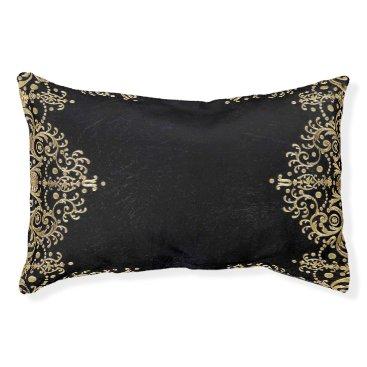 Wedding Themed Falln Black And Gold Filigree Pet Bed