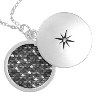 Falln Black and White Scales Locket Necklace