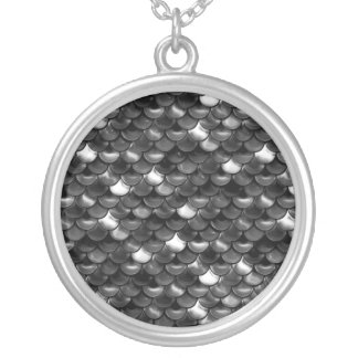 Falln Black and White Scales Silver Plated Necklace