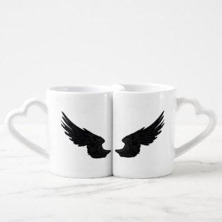 Falln Black Angel Wings Coffee Mug Set